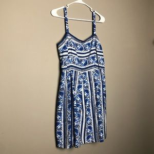 LOFT Ann Taylor blue floral empire waist sun dress